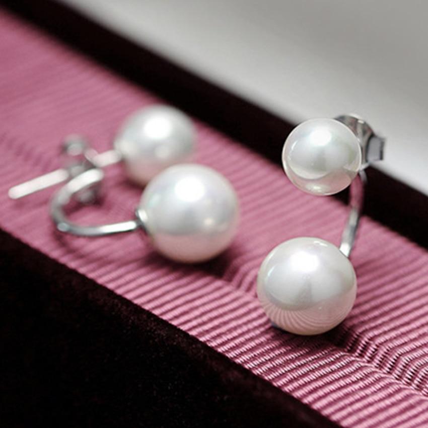 Női kettős utánzat gyöngy gömb fülbevalók divat ezüst - Divatékszer - Fénykép 4