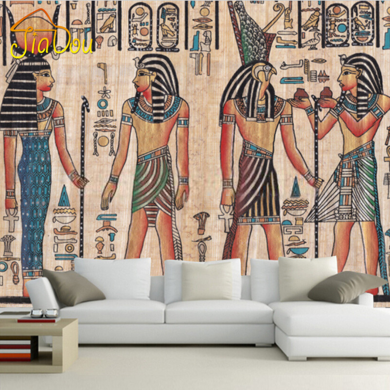 Custom mural wallpaper egypt retro pattern tv background for Custom mural painting