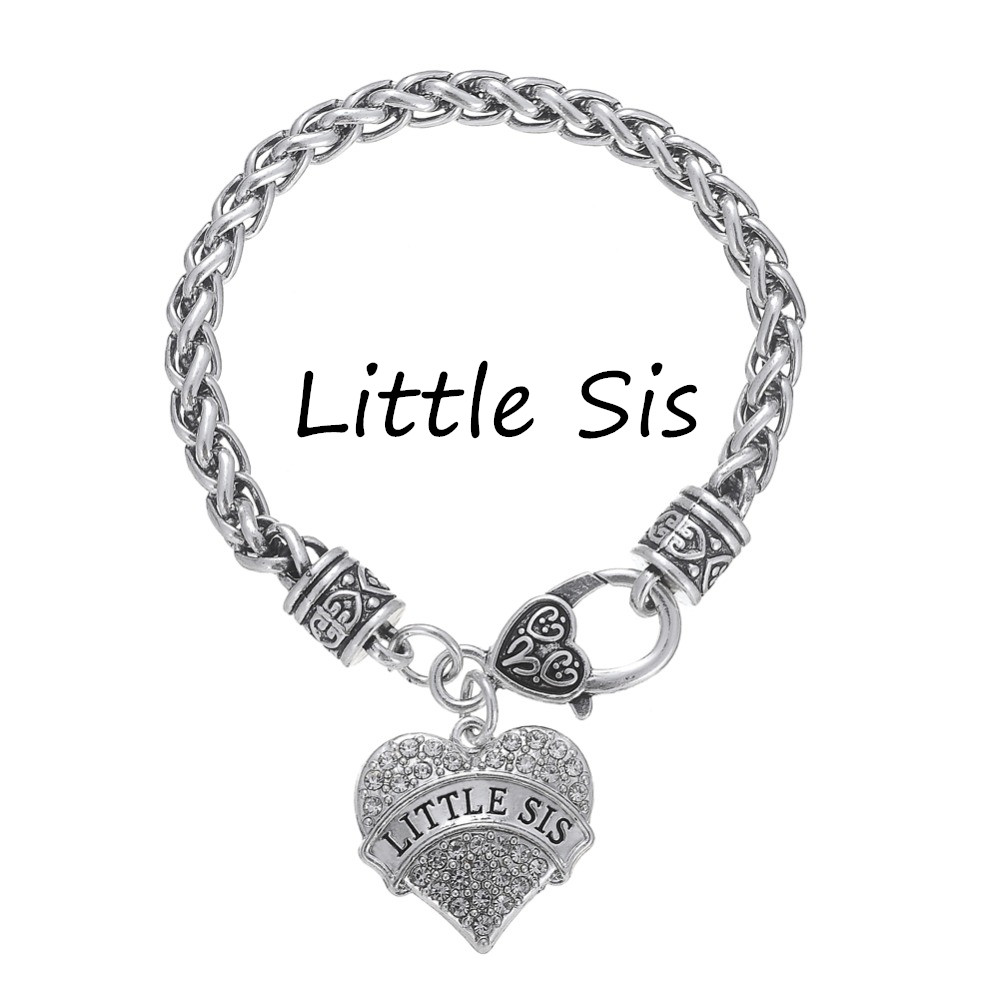 little sis little sis pave heart bracelet
