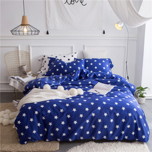 New Pcs Black White Stars Luxury Bedding Set King Size Queen Boys Girls Bed Set Duvet