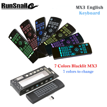 7 Colors MX3  Wireless Keyboard Backlight Air Mouse Portable 2.4GHzRemote Control IR Learning Fly Air Mouese For Smart Tv Box PC