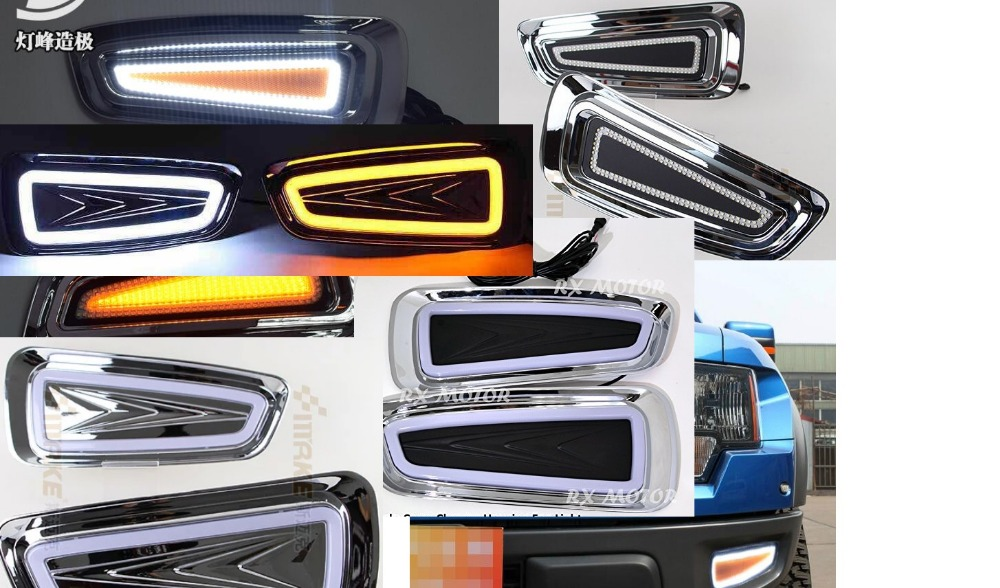 OsMrk LED DRL daytime running light fog lamp for ford raptor F150 F-150 2010-14 top quality super bright fast shipping hireno super bright led daytime running light for ford raptor f150 f 150 2010 2011 2012 2013 2014 car led drl fog lamp 2pcs