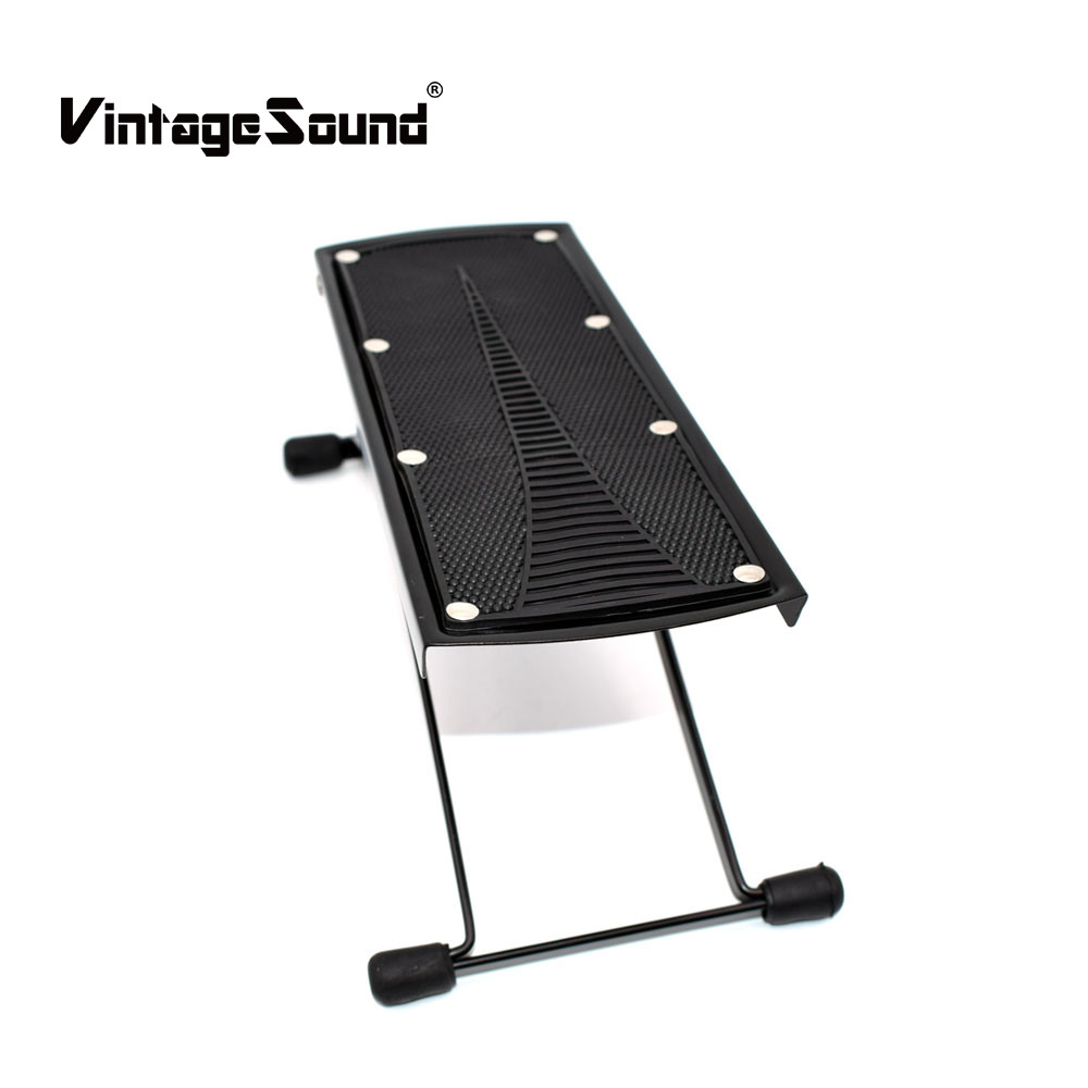 Guitar Foot Rest Stool Stand Foldable Metal Acoustic Classic Guitar Pedal Footboard 6Adjustable Height Levels Black Accessories