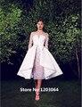 2016 новая мода тафта Линии Съемная Юбка Великолепная scoop vestido де festa цветы с длинным рукавом вечернее платье ZHB-719