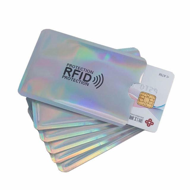 כסף לייזר אלומיניום אנטי Rfid ארנק חסימת קורא מנעול בנק כרטיס מחזיק מזהה בנק כרטיס מקרה עסקים הגנת מתכת אשראי