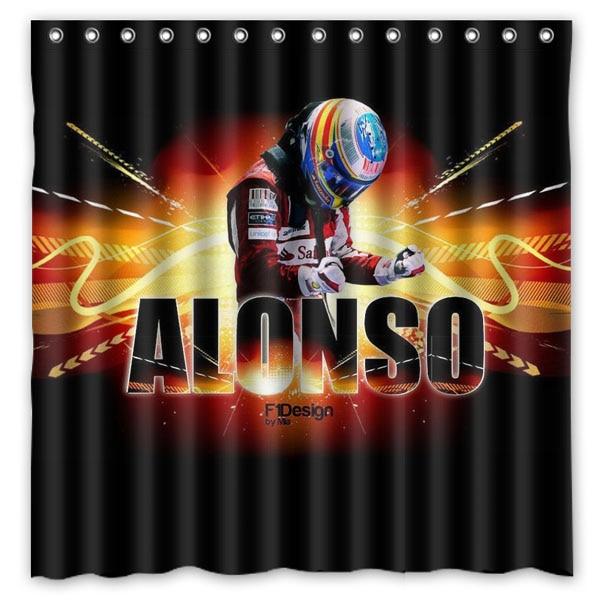 Fernando Alonso Waterproof Mildewproof Bath Curtain Polyester Fabric Shower Curtain For Bathroom Decor 180*180cm