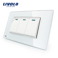 Manufacturer Livolo Luxury White Crystal Glass Panel 3 Gang 2 Way Push Button Home Wall Switch