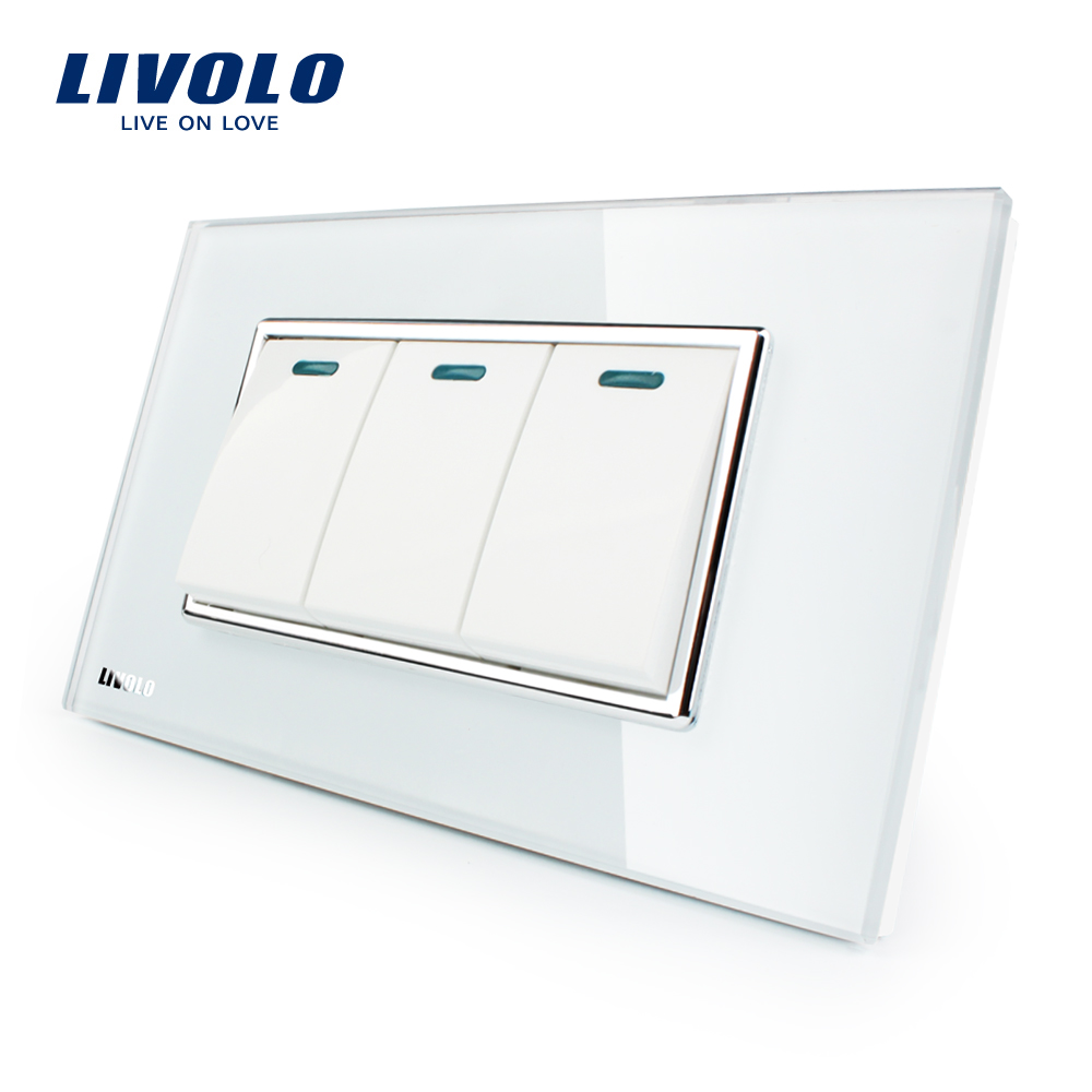 Livolo Luxury White Crystal Glass Panel, 3 Gang, 2 Way Push Button Home Wall Switch,VL-C3K3S-81 livolo luxury white crystal glass panel push button 1 gang 2 way switch vl c3k1s 81