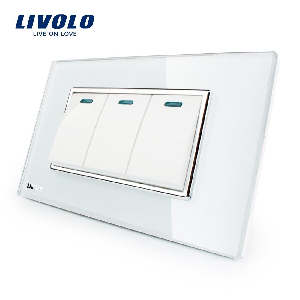 Livolo Luxus Weiß Kristall Glas-Panel, 3 Gang, 2 Möglichkeit Push Button Startseite Wand Schalter, VL-C3K3S-81