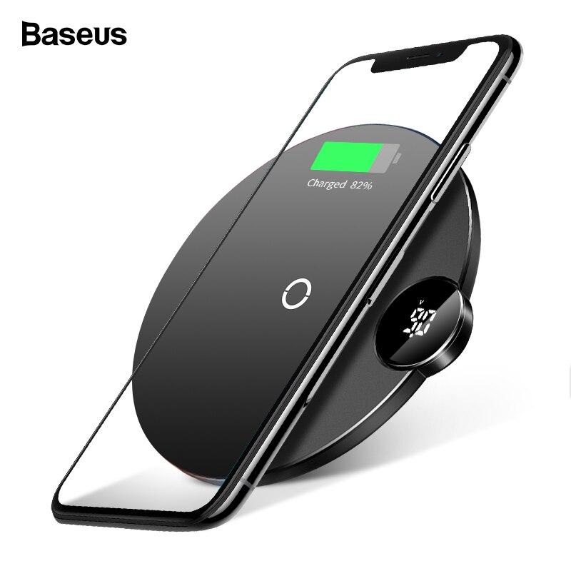 Baseus Led-anzeige Qi Drahtlose Ladegerät Für iPhone Xs Max XR X 8 10 watt Schnelle Wirless Drahtlose Aufladen Pad für Samsung S9 Doogee S60