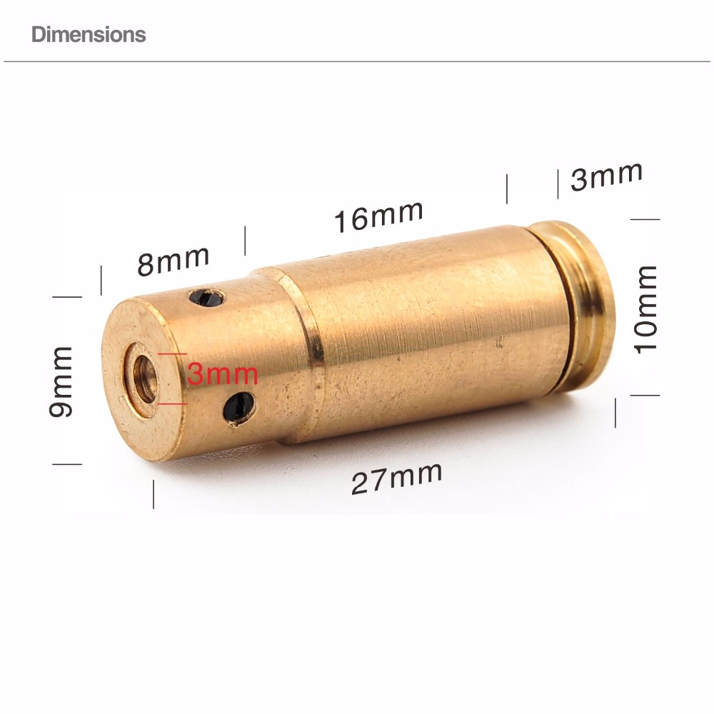 Military Bore Sighter Cartridge Red Dot Laser CAL 45 Sight Boresighter Copper
