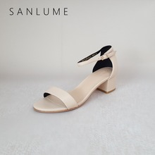 SANLUME New Arrive Summer Sheepskin Sandals Women Pumps Ladies Genuine Leather Sandal Sexy Ankle Strap Thick Heels Peep Toe