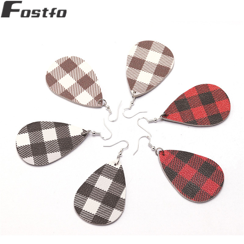 Fostfo 2019 New Buffalo Plaid Leather Earrings For Women Fashion Statement Teardrop Leaf Plaid Earring Leather Jewelry Wholesale plaid