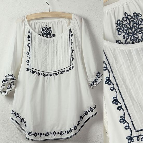 Vintage 70s Mexican Ethnic Flower Embroidery BOHO Hippie Women clothing Casual t-shirt tops blusas femininas Free Shipping