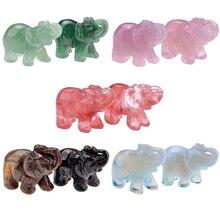 Здесь можно купить  New Style Natural Carved Gemstones Elephant Figurine 1.5inch Elephant Stone Carved Figurine Chakra Healing Reiki Have 5 Colors  Home Decor