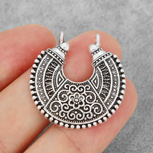 Pendants-Connectors Necklace-Making Jewelry-Findings-31x30mm Crescent Charms Moon Antique