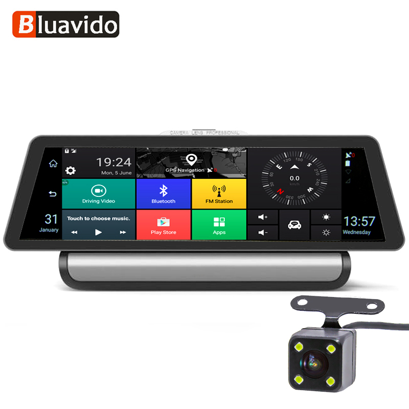 Bluavido 10 pouce 4g Android Voiture DVR 1080 p Caméra Vidéo GPS Navigation ADAS Full HD Caméscope Bluetooth WiFi double objectif Dashcam