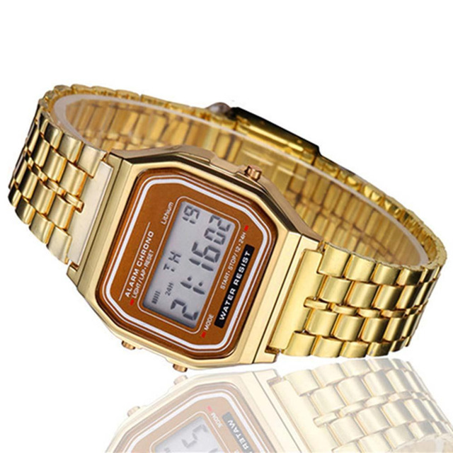 Gold LCD Watch Digital Retro Stainless Steel Watch Square Military Men Women Dre