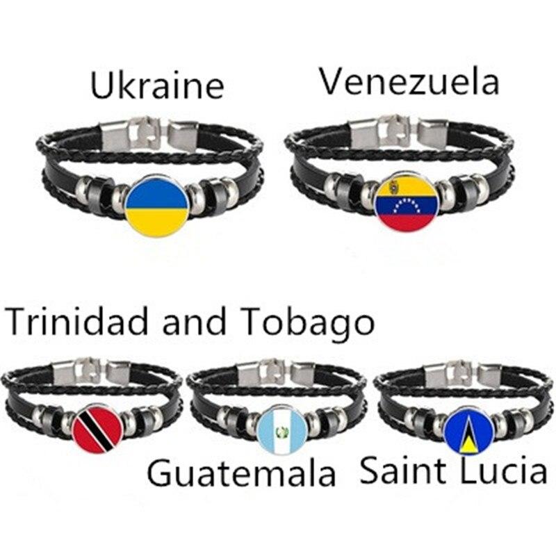 Ukraine Venezuela Trinidad and Tobago Guatemala Saint Lucia Flag Multilayer Leather Bracelet Fashion Bracelet