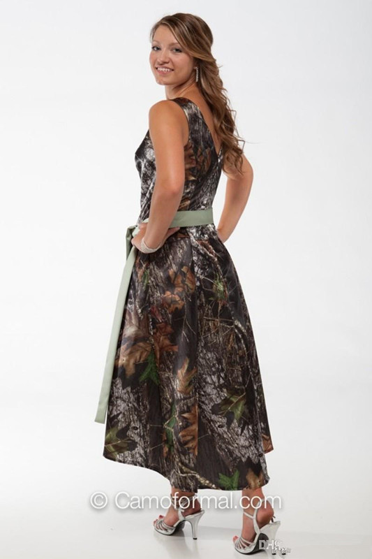 V Neck Camo Bridesmaids Dresses High Low Short Formal Camouflage ...