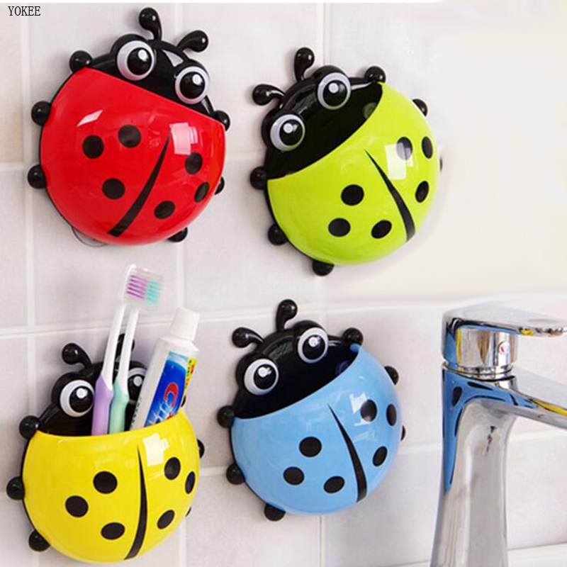 Yokee 1pc Bathroom Accessories Sets Ladybug Toothbrush Holder Suction Wall Cute Cartoon Wall Sucker Suction Hooks