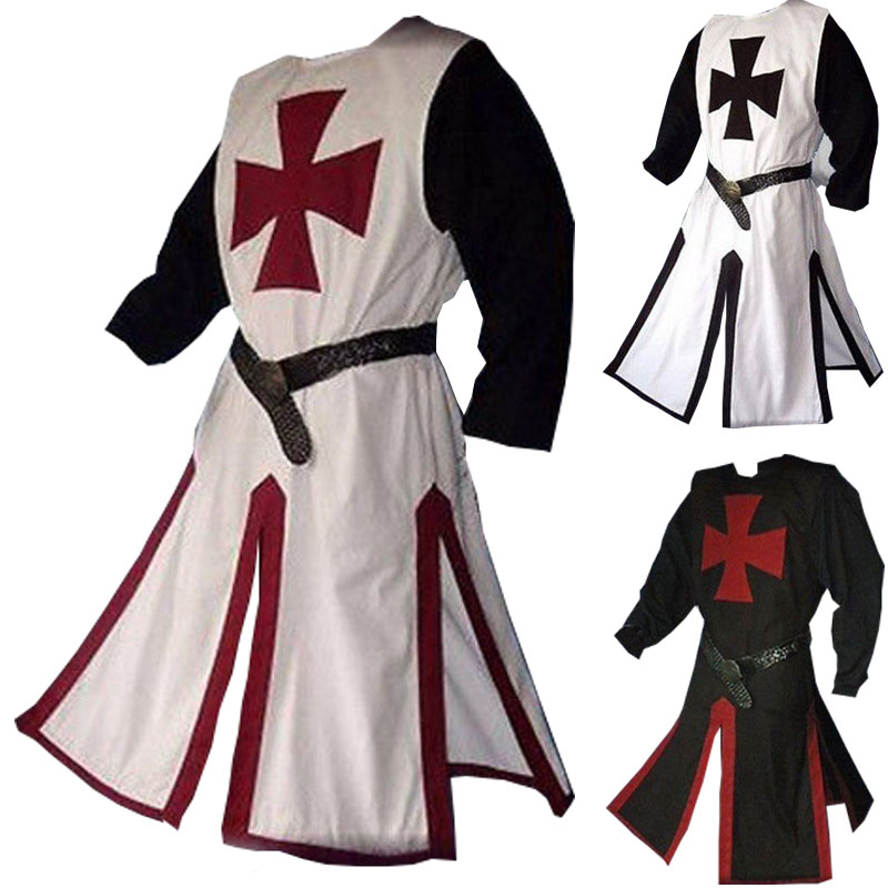 Medieval Warriors Knight Templar Crusader Costume For Adult Men Gown Shirt Top Cross Tabard Surcoat Tunic Clothes Belted 3XL 4XL