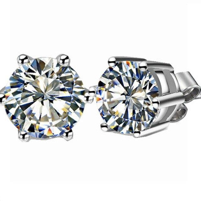 0 6ct Each Round Cut Flawless Nscd Lovely Diamond Stud Earrings Wedding Earring Genuine 925 Silver