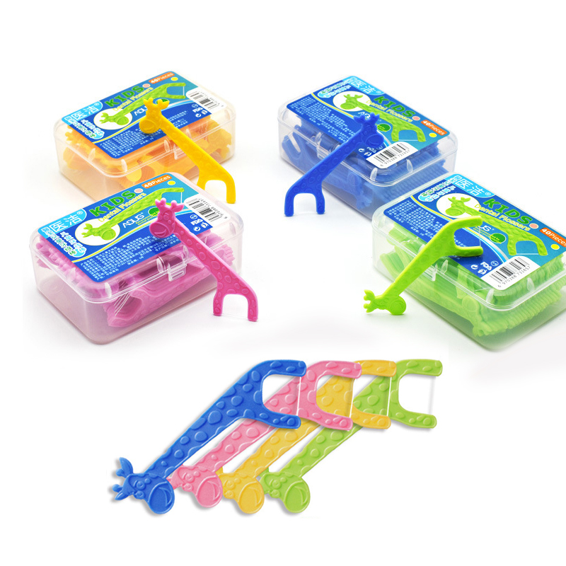 Kids Cute Dental Floss Flosser ,  Children Cartoon Picks Teeth Toothpicks Stick Tooth Clean Oral Care, 40pcs/lot