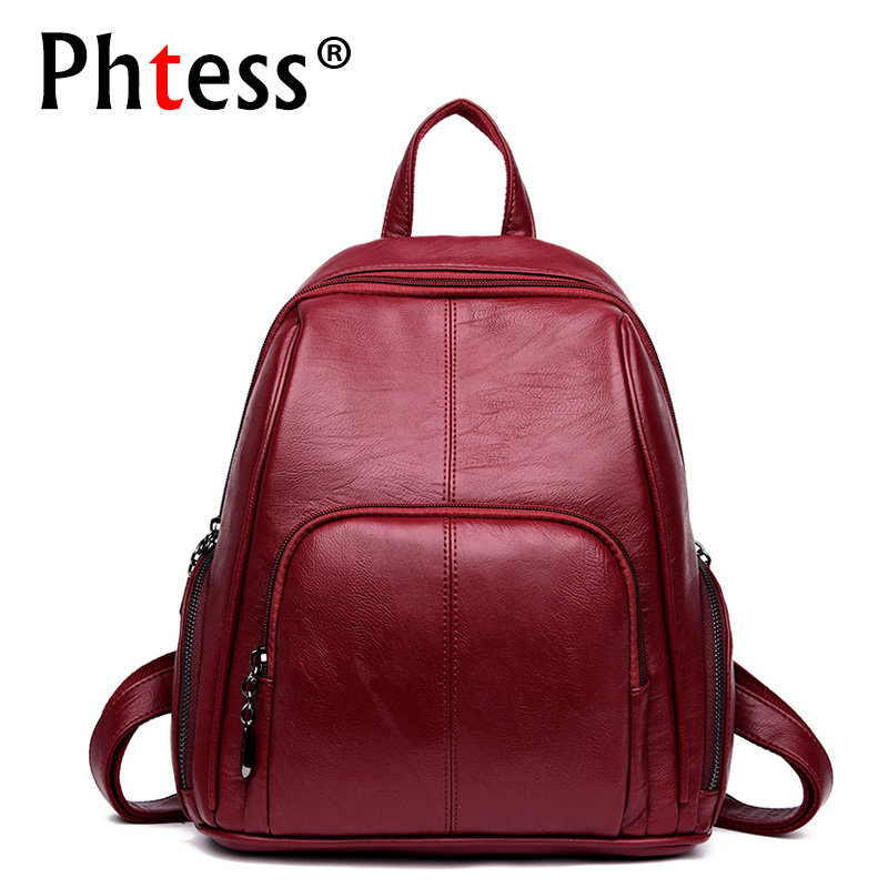 2019 Soft Leather Backpack For Girls Sac A Dos Women Backpack High Quality School Bags Travel Bagpack Ladies Vintage Rucksacks