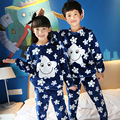 2016 Autumn & Winter New Pattern Girl Coral Star Flannel Home Clothes Long Sleeve Warm Thickening Children Pajamas Pure Cotton