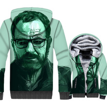 men 3D print hooded sweatshirts 2018 streetwear hip-hop jackets warm wool liner zip brand clothes fashion breaking Bad coats