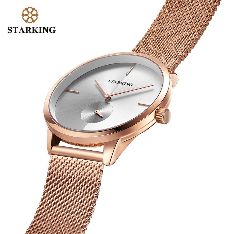 STARKING Fashion Women Dress Watches Luxury Women's Casual Ladies Mesh Band Quartz Watch Wristwatches Relogio Feminino BL1025
