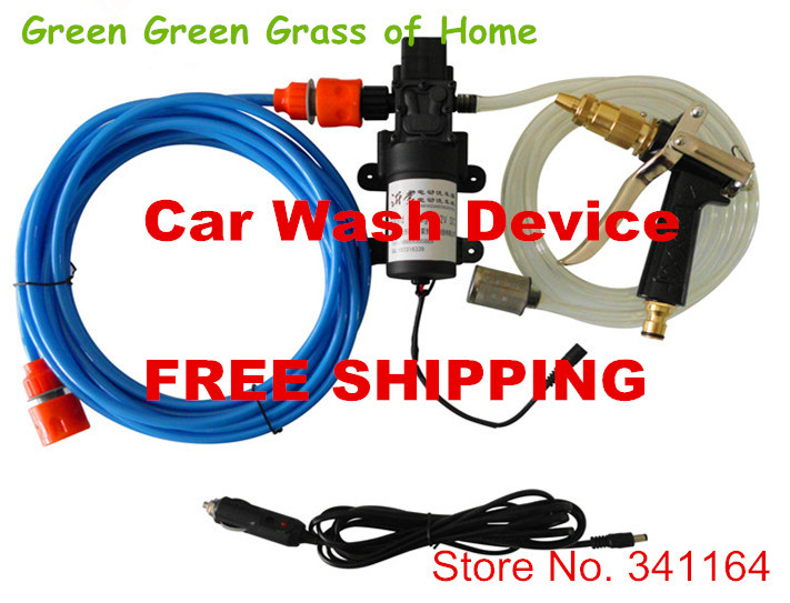 !! 2014 auto car washing set high pressure washer device 12V60W pump 8m water pipe metal watering gun - Green Grass of Home store