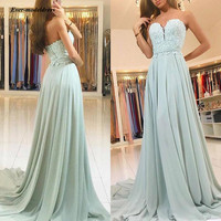 2020 Long Bridesmaid Dresses Chiffon Appliques Strapless Sleeveless A Line Simple Wedding Guest Party Gowns Cheap Custom Made