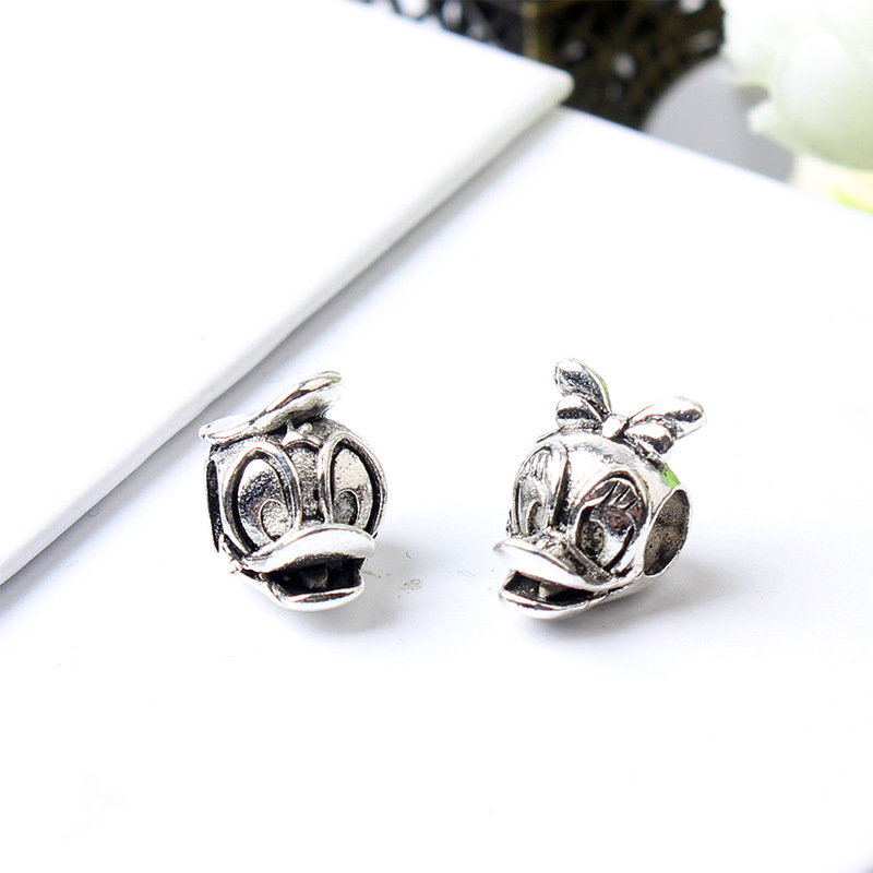 5PCS Vintage Antique Silver Animal Beads Donald Duck Bead Fit Women Charms Original Bracelet Beads For DIY Jewelry