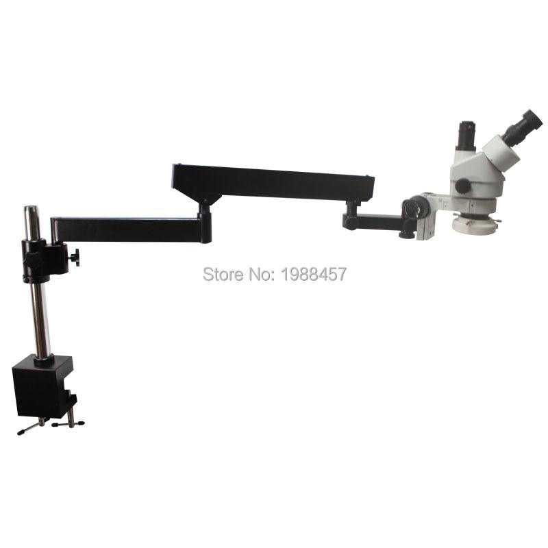 3.5X-90X trinoculaire Inspection industrielle Zoom Microscope stéréo bras Long Boom pince grand support de Table stéréo avec lumières de LED