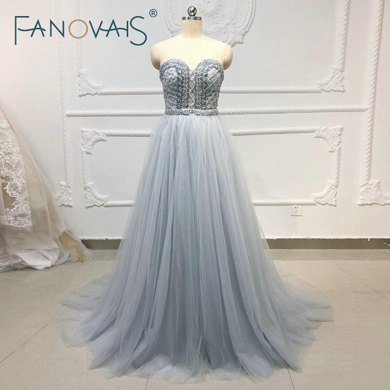Gris bleu perlé cristal strass robes de soirée Champagne Tulle robes de soirée 2019 Vestido de fiesta robe de bal femmes robe