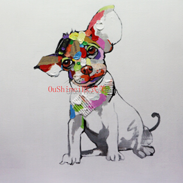 Handgemalte Lgemlde Auf Leinwand Lovery Hunde Wohnkultur Messer Tiere Hngen Bilder Fr Wohnzimmer Abstrakte Malerei