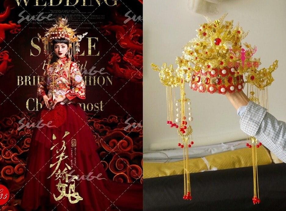 Golden Gorgeous Hanfu Costume Hair Tiaras for Bride Wedding Tiaras Photo House Use Xiuhefu Tang Suit Bride Crownpiece 00009 red gold bride wedding hair tiaras ancient chinese empress hair piece
