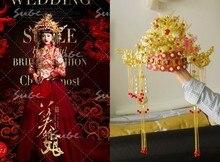 Golden Gorgeous Hanfu Costume Hair Tiaras for Bride Wedding Tiaras Photo House Use Xiuhefu Tang Suit Bride Crownpiece