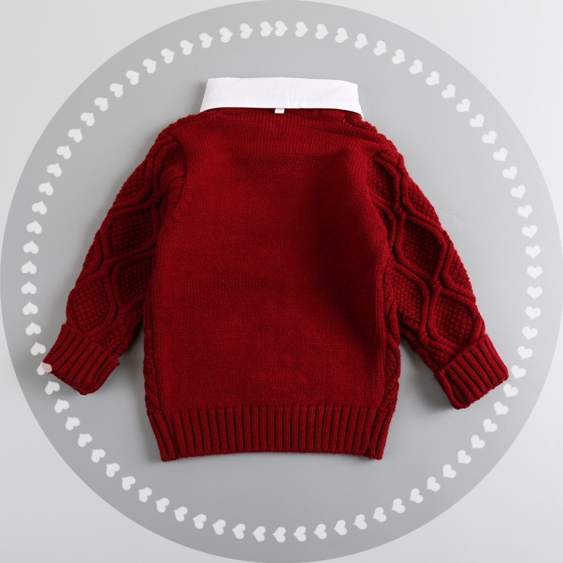 Baby Boy Clothes Lapel Warm Sweater Children Toddler Kids European And American Style Winter Autumn Pullover Knit Loose Top in Sweaters from Mother Kids