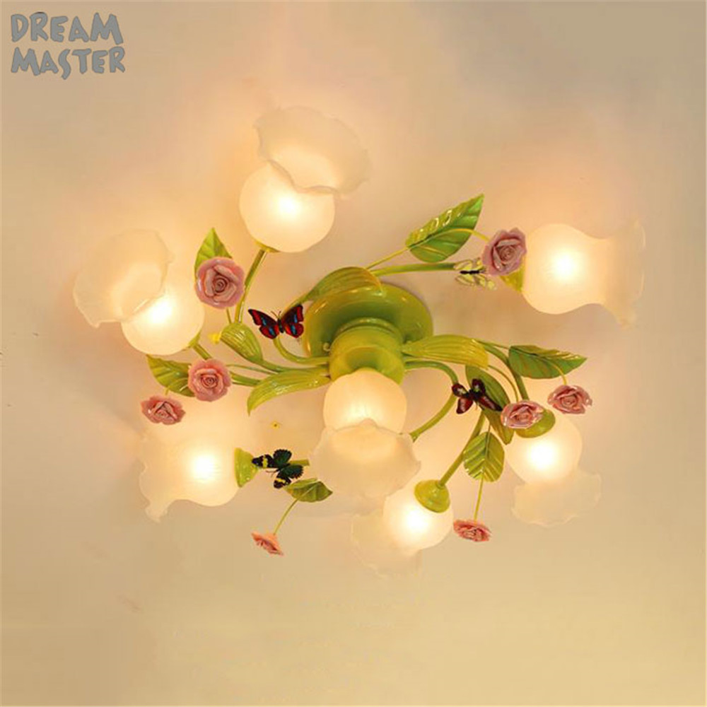 Éclairage de lustre de plafond de chambre à coucher d'enfants de style européen, lampe de lustres verts décoratifs de rose rose pour la chambre de fille, lumière à la maison de 4 7