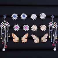 GODKI Daisy Flower Rainbow Color Butterfly Meteor Tassel Drops Fashion Cubic Zirconia Women Bridal Stud Earrings High Quality