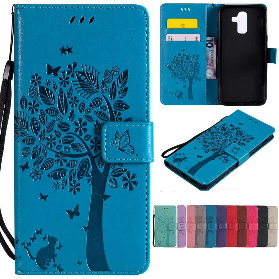 J8 2018 Leather Case on for Fundas Samsung Galaxy J8 2018 SM-J810 Case for Galaxy J8 Case Wallet Strap Magnetic Stand Phone Case