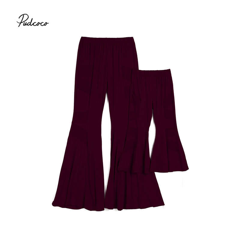 Pudcoco Summer Flared Pants Mother Daughter Family Matching Outfits Kid Girls Mom Loose Wide Leg Pants Bell Bottoms S-XL 2-6T