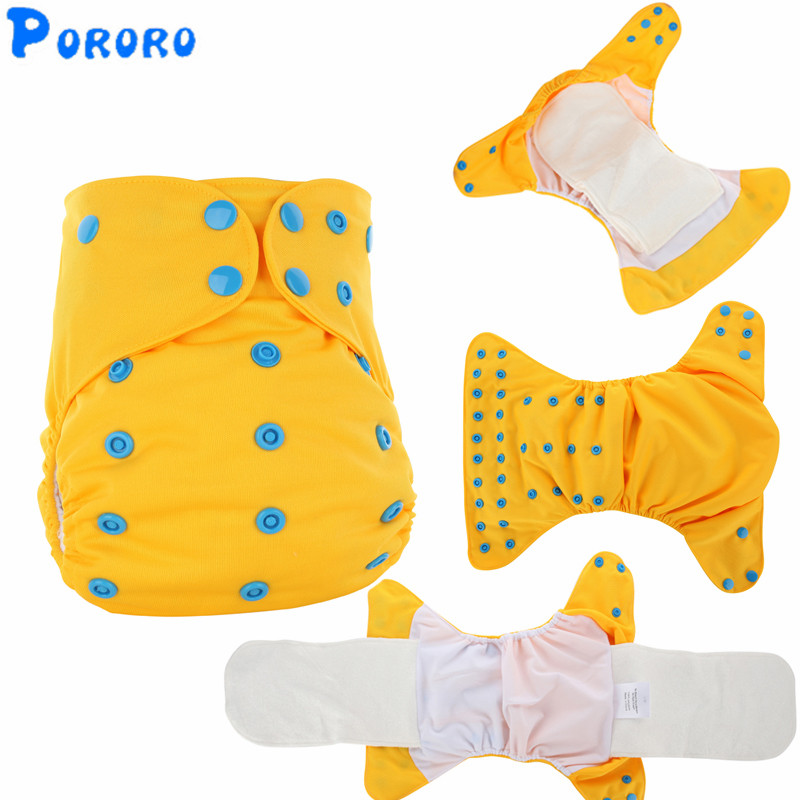 Baby Washable Cloth Diaper AIO Nappy Cover Pockets All In One PUL Plain Baby Cloth Diapers Nappy Changing Reusable Cloth Diapers