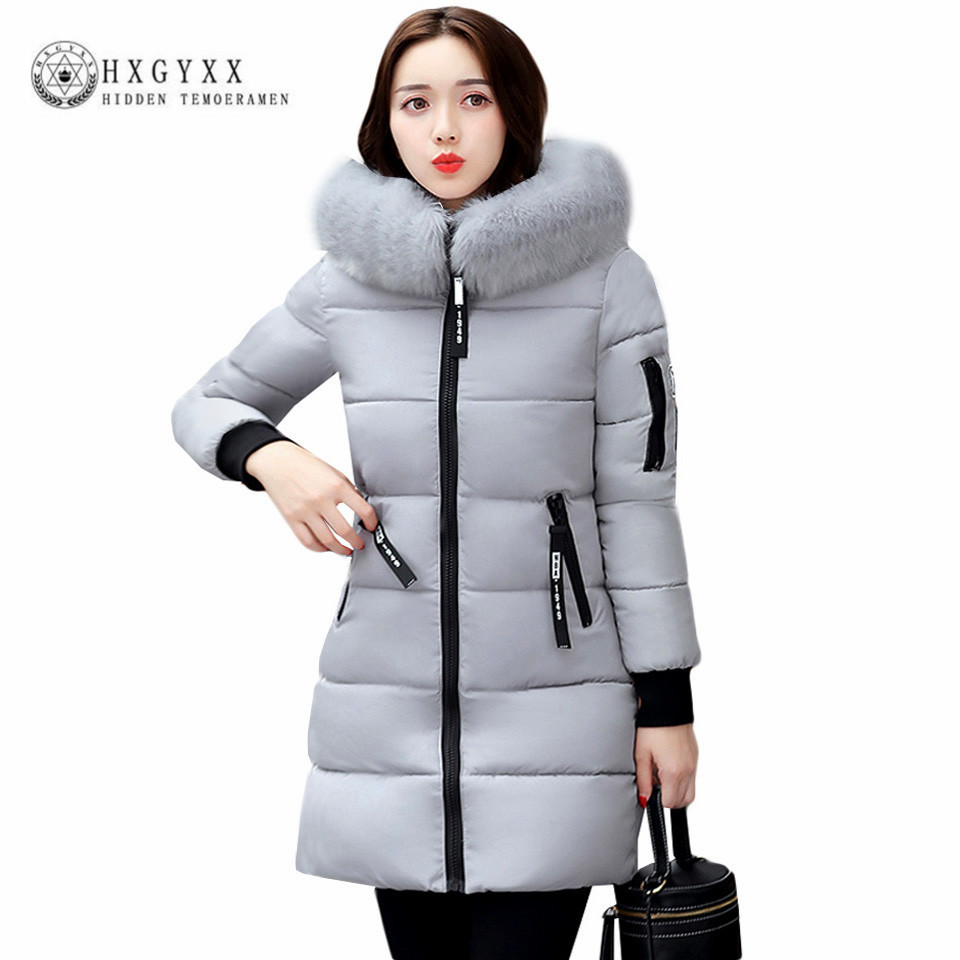 2017 Winter Jacket Women Cotton Coat Plus Size Fur Collar Hooded Parka Female Long Slim Quilted Jackets Zipper Warm Outwear O2 2017 women winter coat fur collar hooded long sleeve jackets slim thick winter jacket woman s down cotton parka plus size qh0242