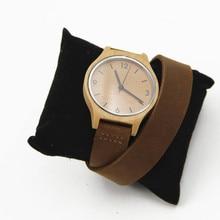 Hecho a mano de lujo para mujer reloj hecho de madera maciza con café sandawood natural de Pulsera con Caja de Regalo