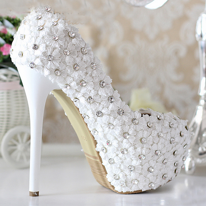 White heel heeled wedding shoes lace flowers with rhinestone bling white heel heeled wedding shoes lace flowers with rhinestone bling bling 5 inches heel prom party shoes bridesmaid shoes in womens pumps from shoes on mightylinksfo