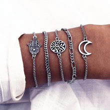 IPARAM Bohemia Ancient Silver Moon Hand Tree Bracelet Set Fashion Multilayer Geometry Feminine Bracelet 2019 Jewelry Gift(China)